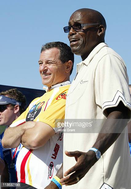Bob Iger and Carl Lewis during The 20th Annual Nautica Malibu Triathlon for the Elizabeth Glaser Pediatric AIDS Foundation at Zuma Beach in Malibu...