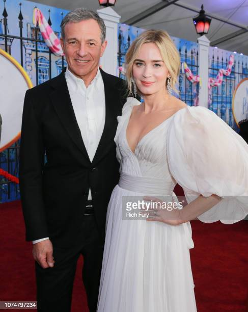 Bob Iger and Emily Blunt attend the Premiere Of Disney's 'Mary Poppins Returns' at El Capitan Theatre on November 29 2018 in Los Angeles California
