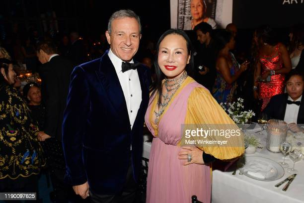 Bob Iger and Eva Chow wearing Gucci attend the 2019 LACMA Art Film Gala Presented By Gucci at LACMA on November 02 2019 in Los Angeles California