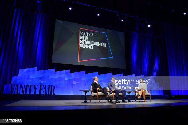 Bob Iger Chairman and CEO of The Walt Disney Company actor/director Jon Favreau and Vanity Fair EditorinChief Radhika Jones speak onstage during...