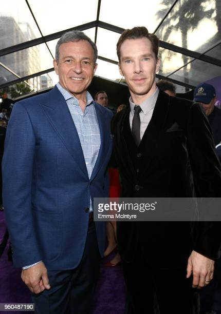 Bob Iger Chief Executive Officer of Disney and Benedict Cumberbatch attend the premiere of Disney and Marvel's 'Avengers Infinity War' on April 23...