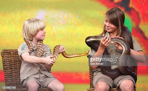 Bob Irwin and Bindi Irwin look at each other during the first taping of the 'Oprah Winfrey Show' at the Sydney Opera House on December 14 2010 in...