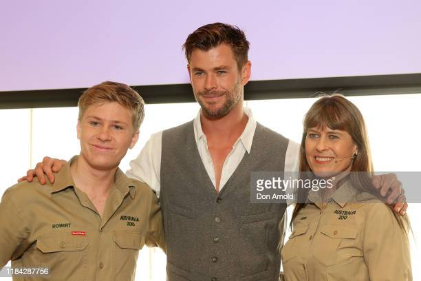 Bob Irwin, Chris Hemsworth and Terri Irwin attend a preview of Tourism Australia's latest campaign at Sydney Opera House on October 30, 2019 in...