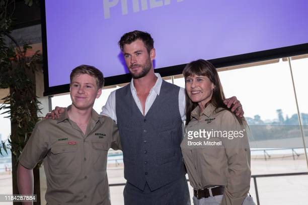 Bob Irwin Chris Hemsworth and Terri Irwin attend a preview of Tourism Australia's latest campaign at Sydney Opera House on October 30, 2019 in...