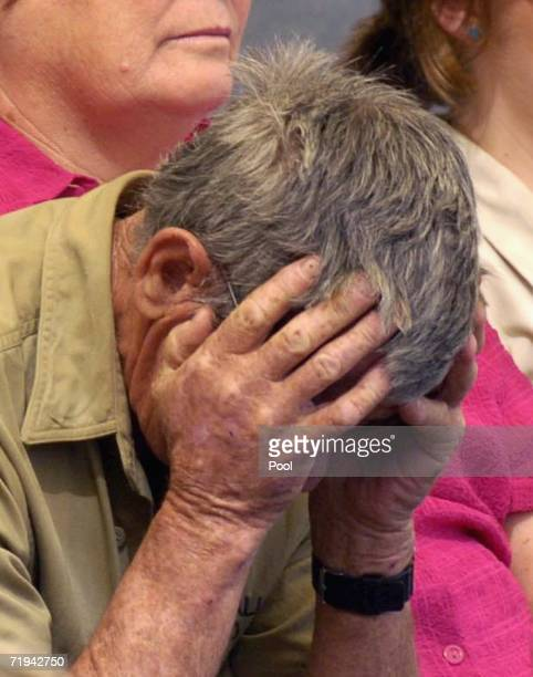 Bob Irwin father of Australian environmentalist and television personality Steve Irwin hold his head at a memorial service for his son at Australia...