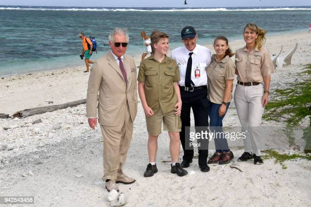 Bob Irwin Lady Elliot Island Head Peter Gash Bindi Irwin and Terri Irwin pose with Prince Charles Prince of Wales before a roundtable meeting...