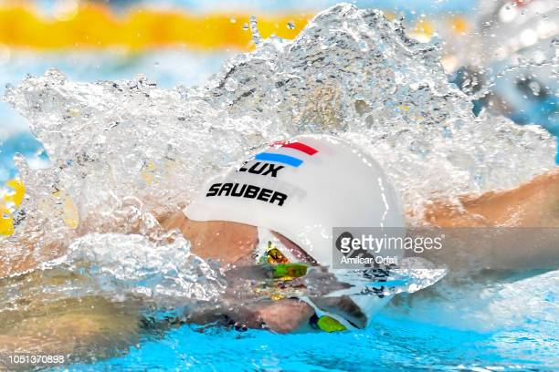 Bob Isauber of Luxembourg competes in Men's 200 M Butterfly in serie 1 qualify during day 1 of Buenos Aires 2018 Youth Olympic Games at Aquatics...