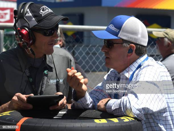 Bob Jenkins talks to a crew member during the Monster Energy Cup Series 49th Annual Geico 500 on April 29 at Talladega Superspeedway in Talladega AL