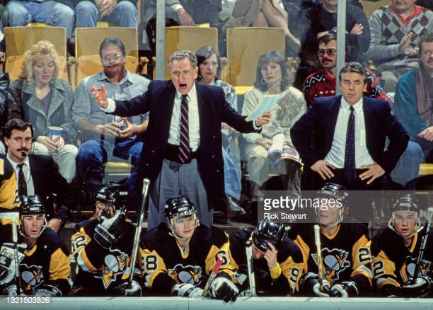 Bob Johnson, Head Coach for the Pittsburgh Penguins shouts out instructions from the bench during the NHL Prince of Wales Conference Patrick Division...