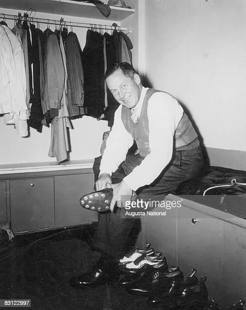Bob Jones Puts On Golf Shoes In A Locker Room Crica 1940