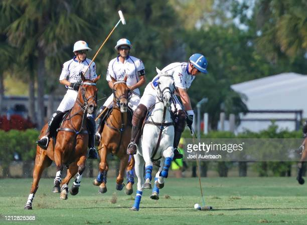 Bob Jornayvaz of Valiente plays the ball against Richard Mille during The Palm Beach Open on March 15 2020 at the Grand Champions Polo Club in West...