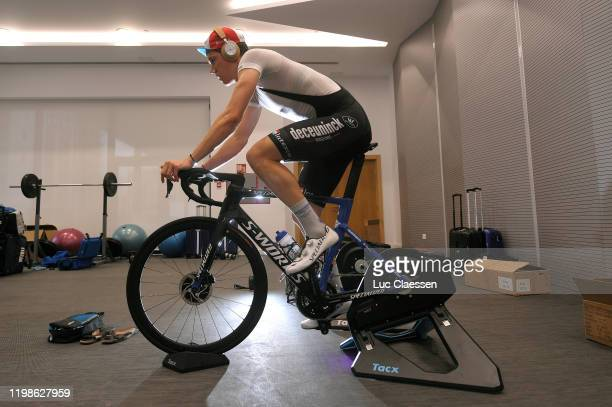 Bob Jungels of Luxembourg and Deceuninck - Quick-Step Team / Warm up / Specialized Bike / Tacx Rolling / during the Team Deceuninck-Quick-Step 2020 -...