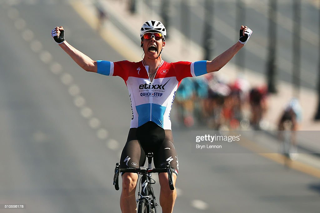 Bob Jungels of Luxembourg and Etixx- Quick Step celebrates winning stage one of the 2016 Tour of Oman, a 145km road stage from Oman Exhibition Centre to Al Bustan on February 16, 2016 in Al Bustan, Oman.