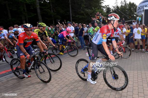 Bob Jungels of Luxembourg and Team Deceuninck QuickStep / Domenico Pozzovivo of Italy and Bahrain Merida / Luka Mezgec of Slovenia and Team...