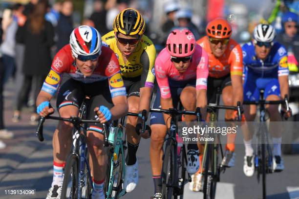 Bob Jungels of Luxembourg and Team Deceuninck - Quick-Step / Wout Van Aert of Belgium and Team Jumbo - Visma / Alberto Bettiol of Italy and Team Ef...