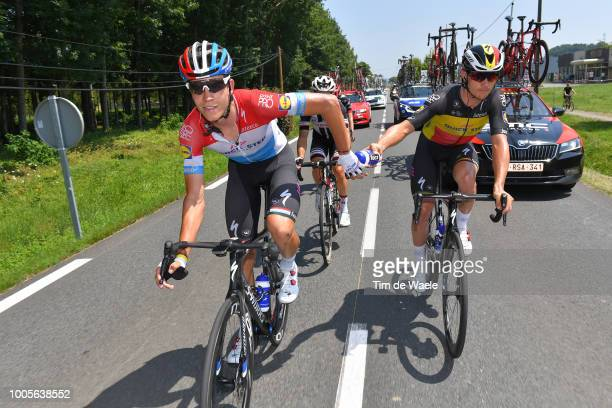 Bob Jungels of Luxembourg and Team Quick-Step Floors / Yves Lampaert of Belgium and Team Quick-Step Floors / Tacx Bottle / during the 105th Tour de...