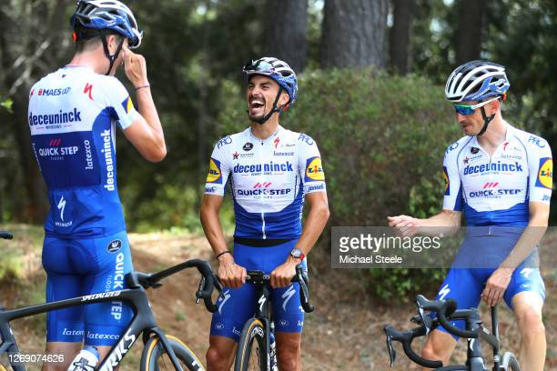Bob Jungels of Luxembourg, Julian Alaphilippe of France, Dries Devenyns of Belgium and Team Deceuninck - Quick-Step / during the Team Deceuninck -...