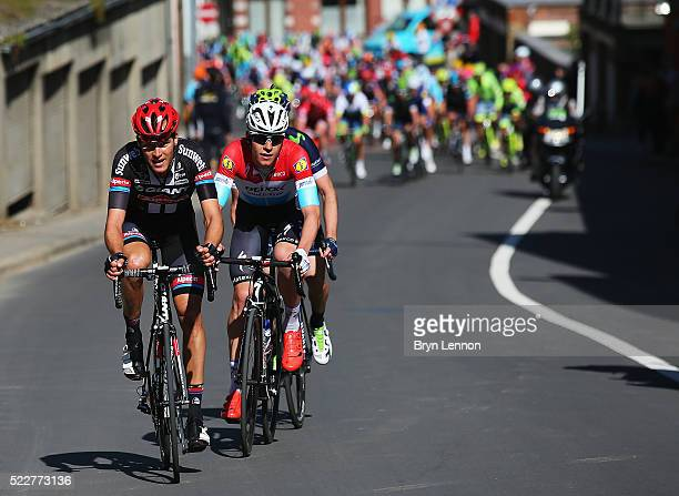 Bob Jungels of The Netherlands and EtixxQuickStep and Georg Preidler of Austria and GiantAlpecin and Jon Izagirre of Spain and Movistar attack during...
