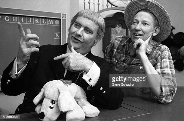 Bob Keeshan as Captain Kangaroo and Hugh Brannum as Mister Green Jeans on the longrunning children's television program Captain Kangaroo
