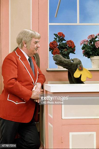Bob Keeshan as Captain Kangaroo talking to Mister Moose Image dated 1979
