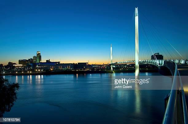 bob kerrey pedestrian bridge in omaha, nebraska - nebraska stock pictures, royalty-free photos & images
