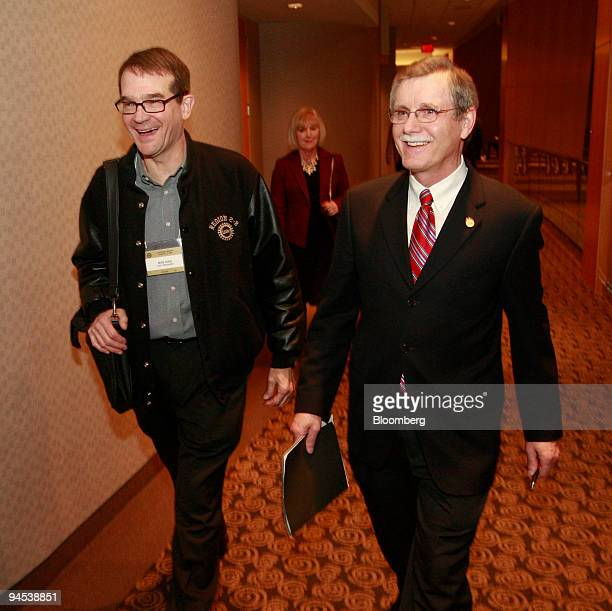 Bob King vice president of the United Automobile Workers Union left and Ron Gettelfinger president of the UAW arrive for a news conference in...