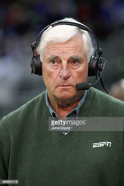 Bob Knight former head coach looks on as an ESPN commentator during the CBE Classic games on November 24 2008 at the Sprint Center in Kansas City...