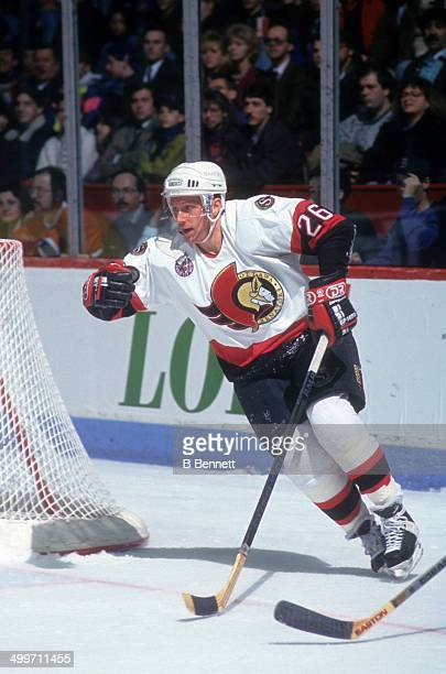 Bob Kudelski of the Ottawa Senators skates on the ice during an NHL game against the Montreal Canadiens on March 27 1993 at the Montreal Forum in...