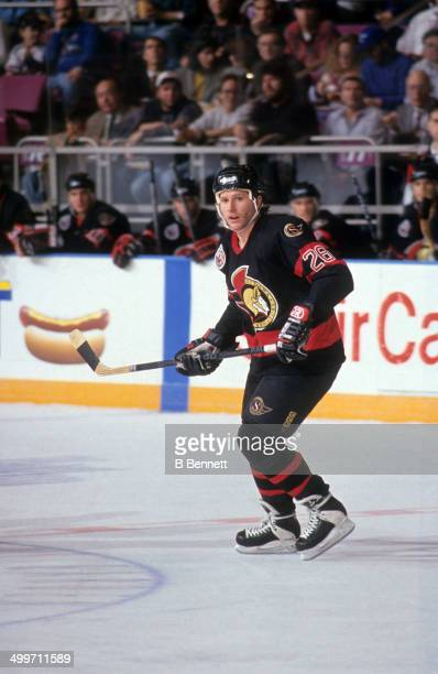 Bob Kudelski of the Ottawa Senators skates on the ice during an NHL game against the New York Rangers on January 6 1993 at the Madison Square Garden...