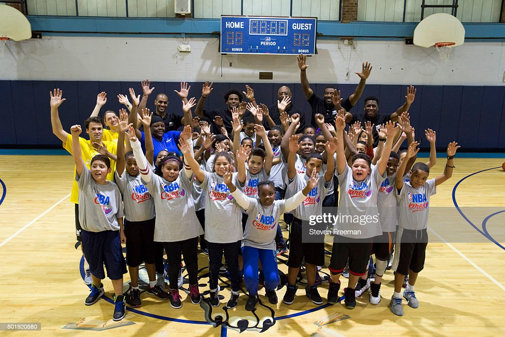 Bob Lanier, Amar'e Stoudemire #5, Justise Winslow #20 and Arron Afflalo #4 and Felipe Lopez participate at an NBA Cares clinic for Good Morning America at the Madison Square Boys and Girls Club on December 12, 2015 in Bronx, New York.