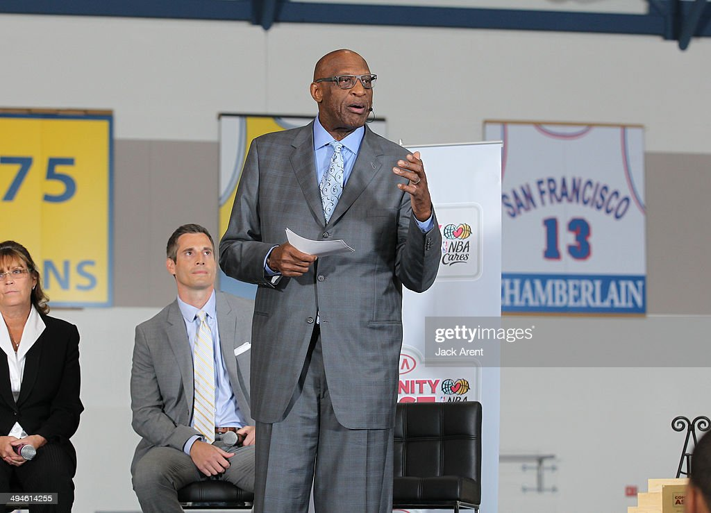 Bob Lanier, NBA Legend and NBA Cares Ambassador congradulates Stephen Curry #30 of the Golden State Warriors, in his efforts which granted him the KIA Community Assist Seasonlong Award on May 29, 2014 in Oakland, California.