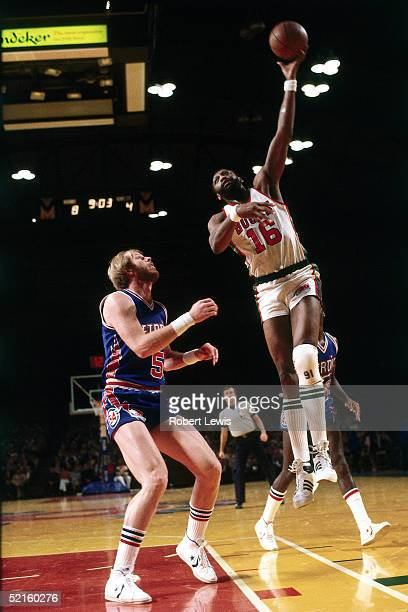 Bob Lanier of the Milwaukee Bucks shoots a hook shot against the Detroit Pistons during an NBA game in 1980 at the Mecca in Milwaukee Wisconsin NOTE...