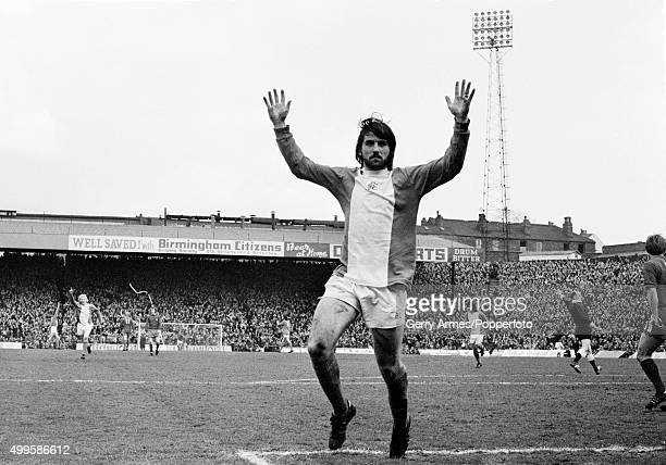 Bob Latchford celebrates after Trevor Francis had scored for Birmingham City during their First Division match against Middlesbrough at St Andrews in...