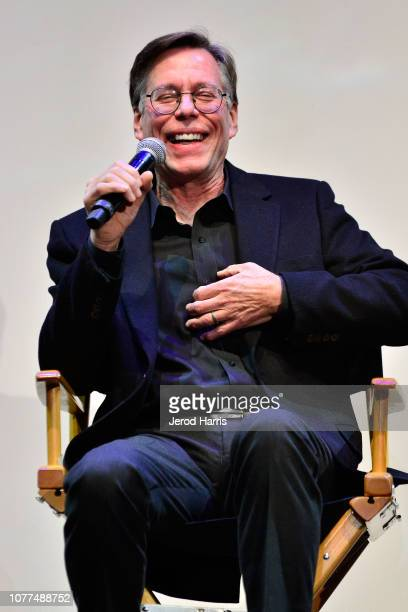 Bob Lazar answers questions during a qa session at Los Angeles Special Screening Of Documentary 'Bob Lazar Area 51 Flying Saucers' at Ace Hotel on...