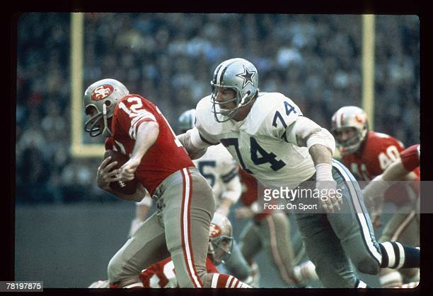 Bob Lilly of the Dallas Cowboys makes a tackle in a circa mid 1960's NFL game against the San Francisco 49ers at Texas Stadium in Dallas Texas Lilly...