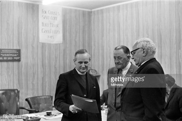 Bob Lord Burnley Football Club Chairman with the Bishop of Blackburn Dr Charles Claxton The sign behind reads 'For Christ's Sake come to Turf Moor'...