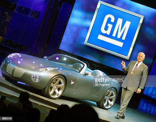 Bob Lutz General Motors'' Chairman of North American Operations introduces the Pontiac Solstice concept vehicle at the 2002 North American...