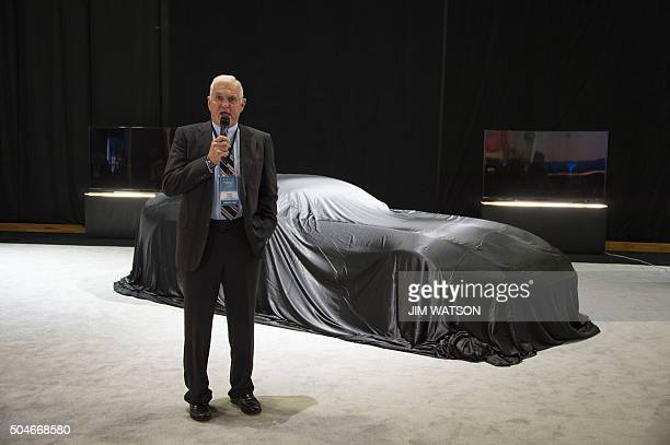 Bob Lutz unveils the VLF Coupe during the VLF press conference at the North American International Auto Show in Detroit Michigan January 12 2016 AFP...