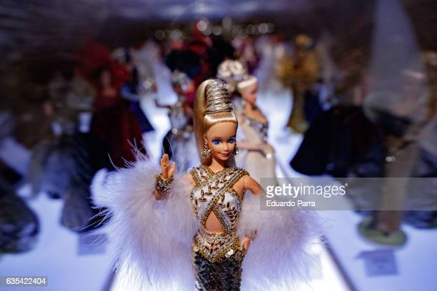 Bob Makie gold barbie doll is seen on display at the exhibition 'Barbie mas alla de la muñeca' at Fundacion Canal on February 15 2017 in Madrid Spain