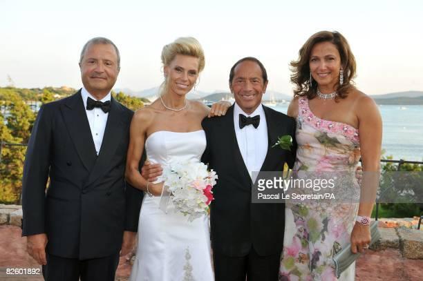 ACCESS*** Bob Manoukian Anna Anka Paul Anka and Tamara Manoukian pose during the wedding at the Hotel Cala di Volpe Bay on July 26 2008 in Porto...