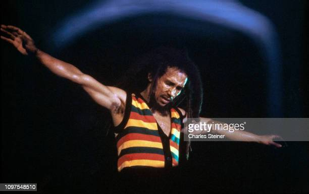 Bob Marley and the Wailers perform at Reggae Sunsplash Festival on July 9 1979 in Montego Bay Jamaica