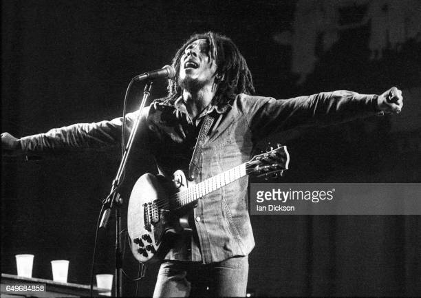 Bob Marley and The Wailers perform on stage at the Odeon Birmingham United Kingdom 18 July 1975