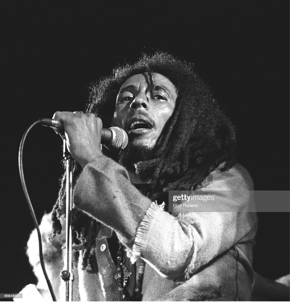 Photo of Bob MARLEY; Bob Marley performing live on stage at the One Love Peace concert at the National Stadium, Kingston