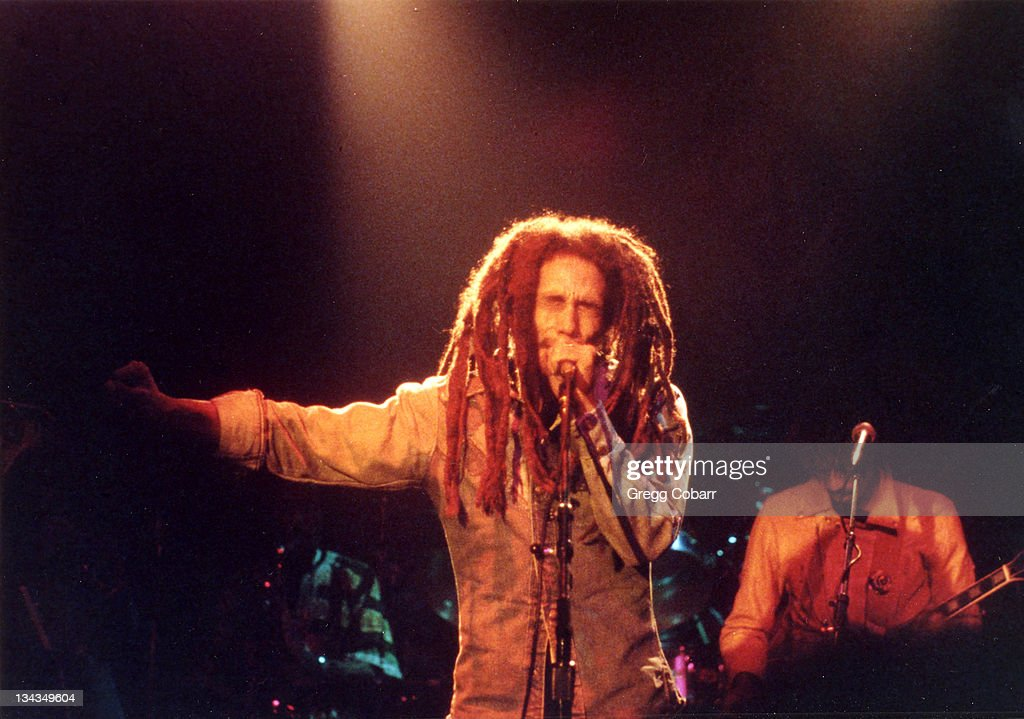 Bob Marley during Bob Marley Benefit Concert for the Sugar Ray Robinson Youth Foundation, 1979 at The Roxy Theatre in West Hollywood, California, United States.
