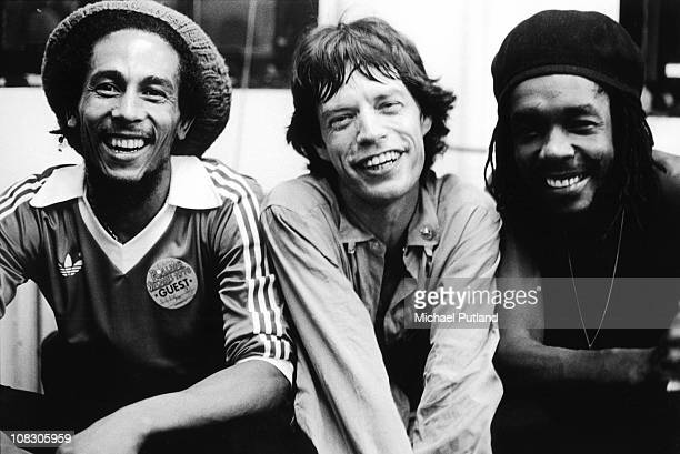 Bob Marley Mick Jagger and Peter Tosh pose backstage at a Rolling Stones concert at the Palladium in New York United States 19th June 1978