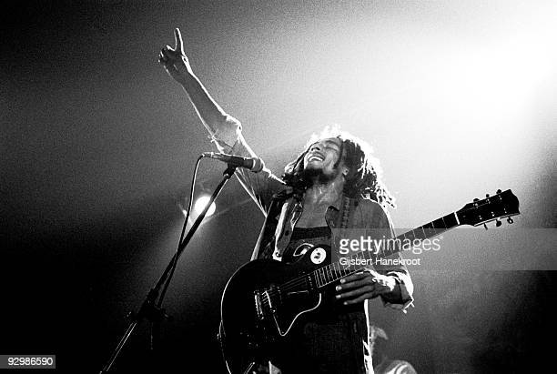 Bob Marley performs live on stage with the Wailers in Voorburg, Holland in 1976
