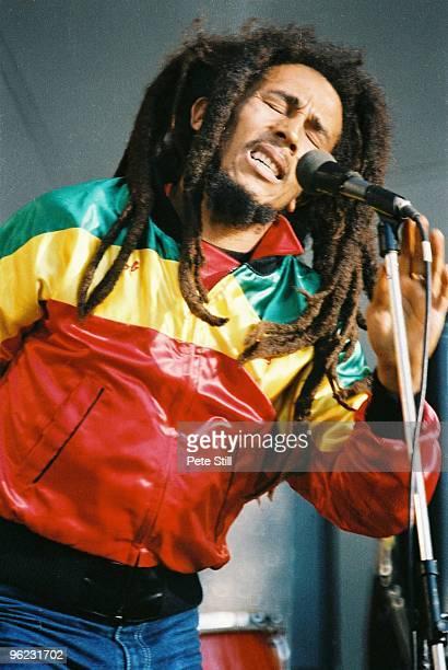 Bob Marley performs on stage at Crystal Palace Bowl on June 7th, 1980 in London, United Kingdom.