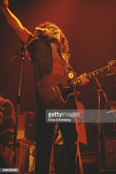 Bob Marley performs on stage at Hammersmith Odeon London 1976