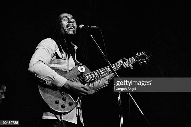 Bob Marley performs on stage at Roskilde Festival 1978 in Denmark