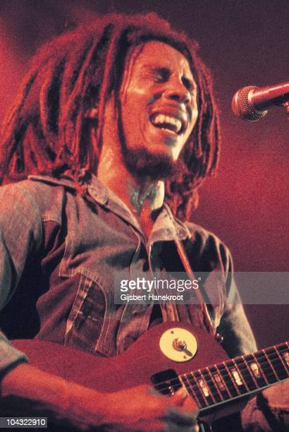 Bob Marley performs on stage with The Wailers at Houtrust Hallen on 13th May 1977 in The Hauge Netherlands